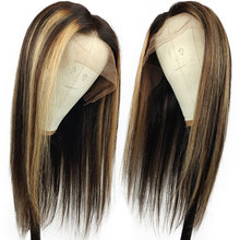 Wig Human-Hair Brown for Black-Women Honey Highlight Frontal Blonde Lace-Front-Wig Piano-Color