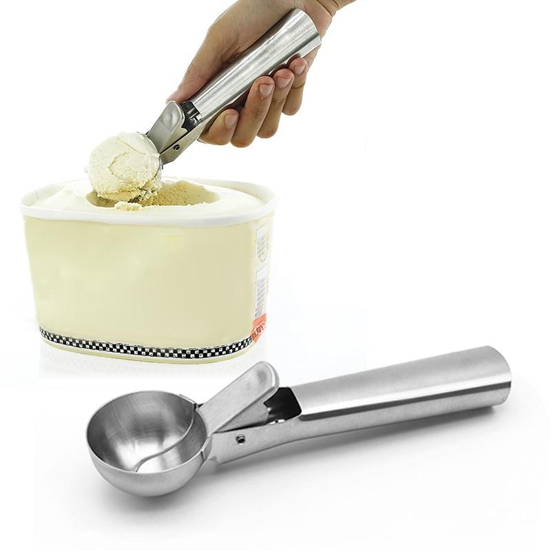 Нержавеющая сталь мороженое совок льдогенератор замороженный йогурт Печенье Тесто Мячи Крем Ложка для арбуза кухонный инструмент