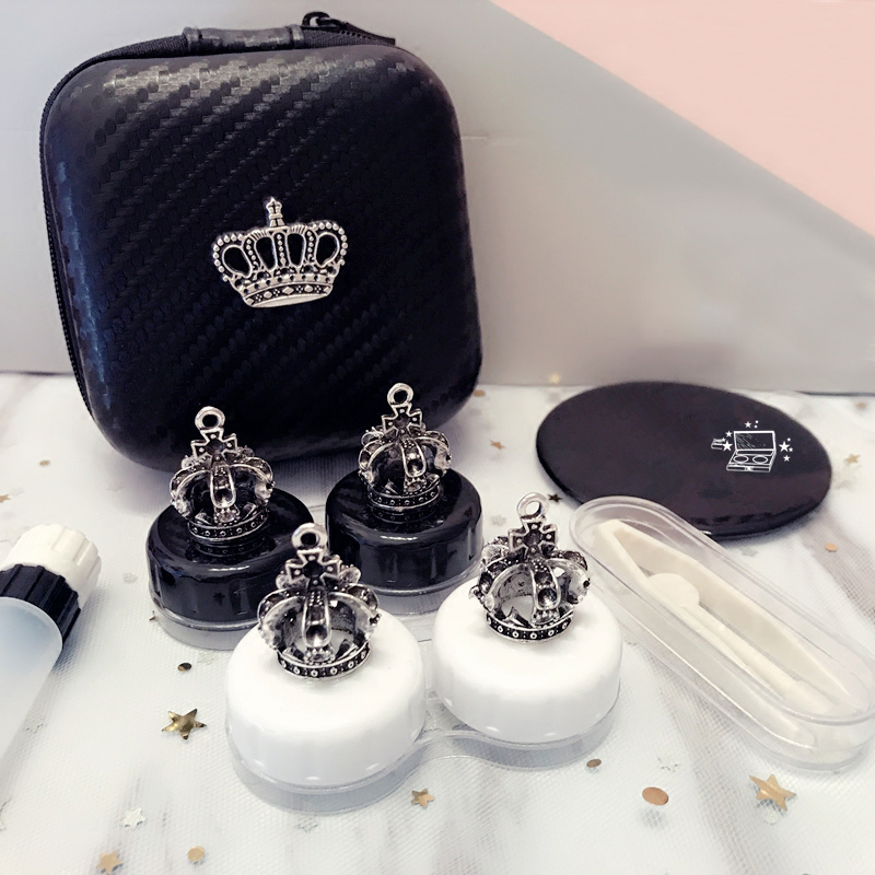 Lovely Handmade Crown Contact Lens Case Set With Mirror Travel Lenses Box Eye Contact Lens Box 2Pairs Container For Women