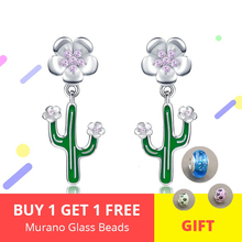 New arrival genuine 925 sterling silver blooming flower cactus stud earrings for women jewelry lover gift