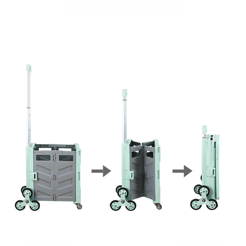 Collapsible Stair Climbing Utility Cart, Portable Small Trolley with Rolling Swivel Wheels & Telescopic Handle