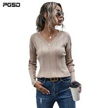 Pgsd новый осенне зимний однотонный вязаный свитер повседневный