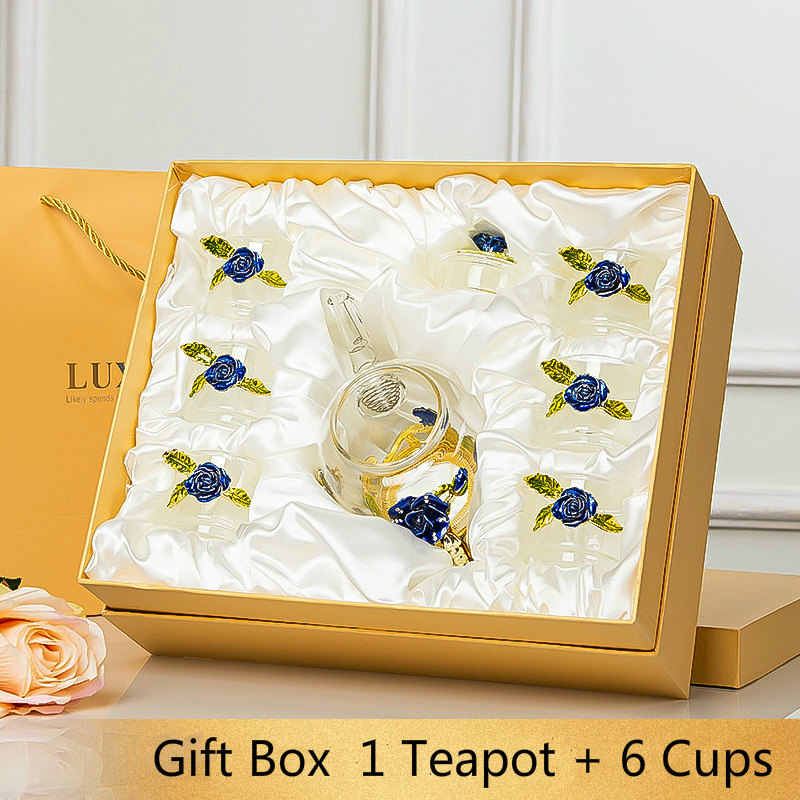 Red Rose Enamel Crystal Flower Tea Glass Cups For Hot And Cold Drinks Glass Cup Set Home Drinkware Office Gift Box Tea Set