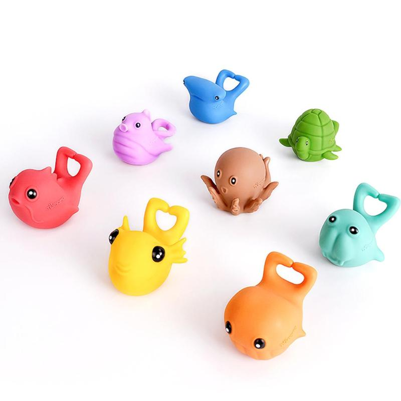 8pcs Suit Baby Marine Animal Squeezing Doll BB Rattles Water Spray Bath Toy PVC Funny Marine Animal Suit Toys For 3 Months+