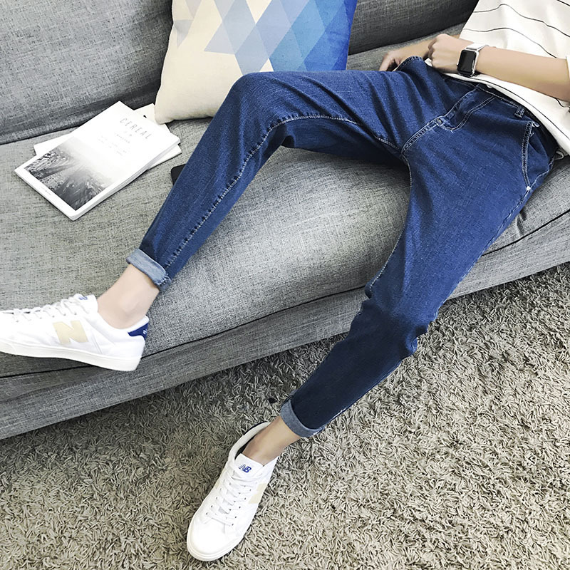 Summer Capri Pants MEN'S Jeans Elasticity 2017 Trend Versatile Korean-style Slim Fit Skinny Pants 9 Points MEN'S Trousers