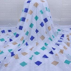 Image 2 - Son afrika dantel kumaş yüksek kaliteli nijeryalı günü dantel kumaş delikli nakış İsviçre saf pamuklu kumaş günlük WearA1754