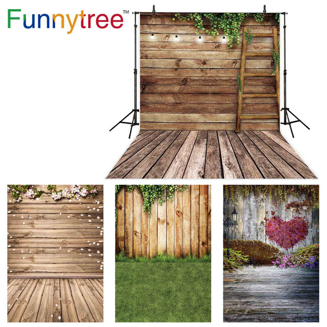 Funnytree Spring photo background baby staircase wood board ladder leaf photography backdrop photocall Easter photophone