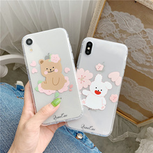 INS Korea cute cartoon bear rabbit case phone for iphone 6 6s 7 8 plus Xs MAX XR X simple flower transparent soft TPU back cover
