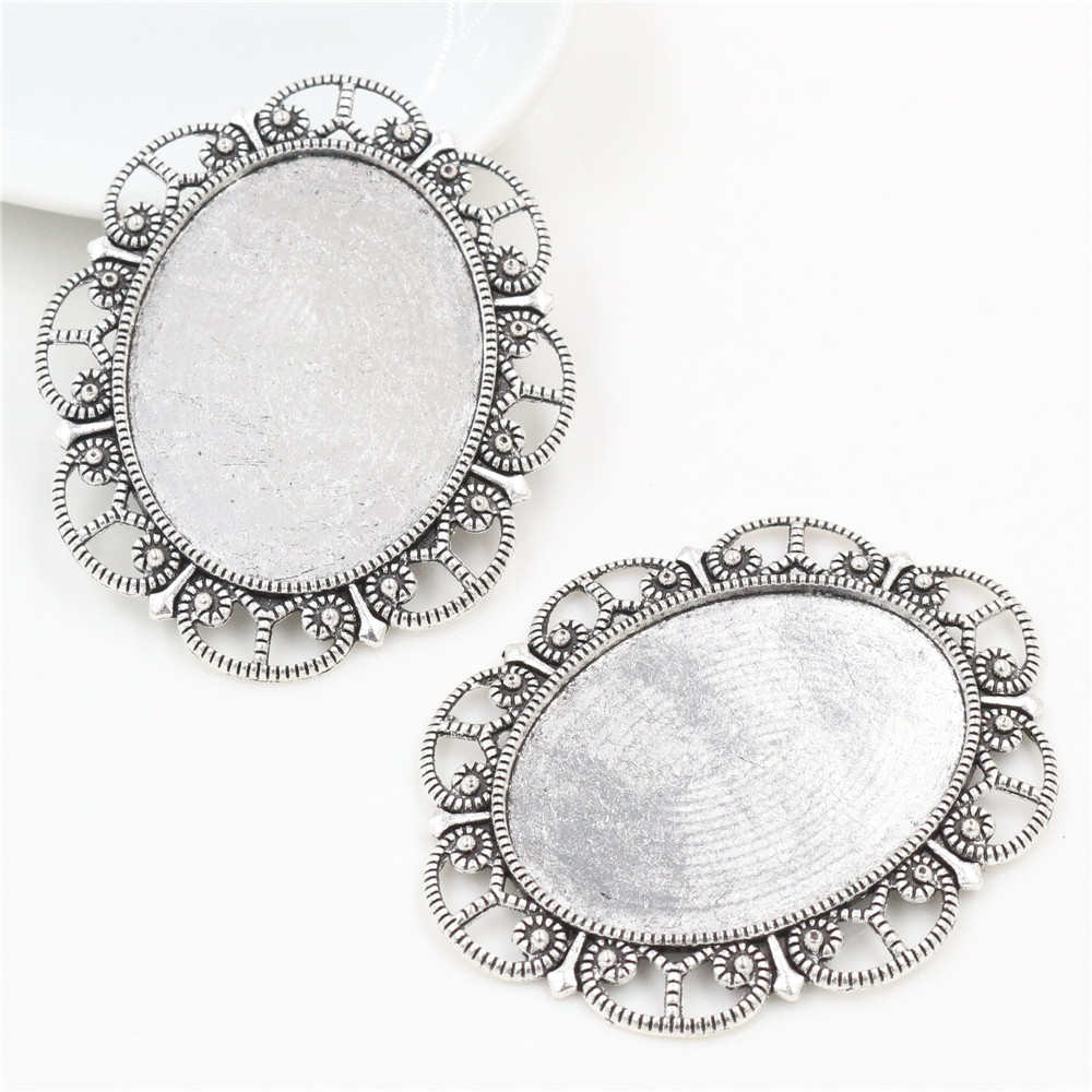 New Fashion 5pcs 30x40mm Inner Size Antique Silver Plated Flower Style Cabochon Base Setting Charms Pendant (B3-09)