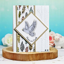 Vredesduif Metalen Stansmessen En Clear Stamps Veer Scrapbooking Voor Maken Card Embossing Craft Diy Stencil(China)