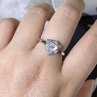 S925 pure silver Korean style fresh and simple rose ring for women