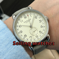 New Parnis 42mm GMT silver case arab mark date window leather strap mens top leisure automatic mechanical watch