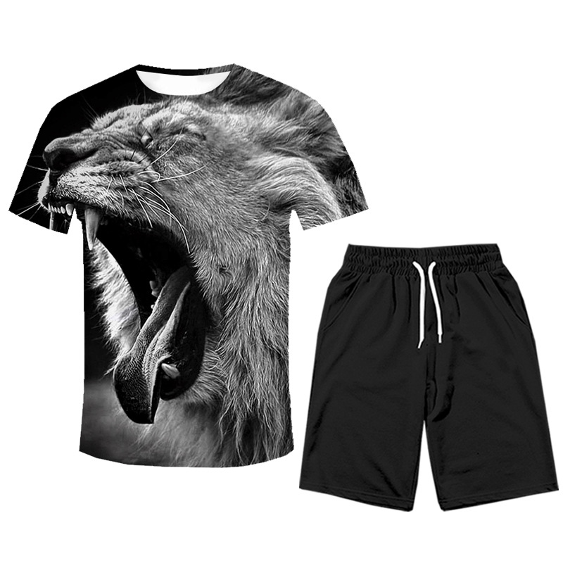 MEN'S WEAR 2019 Summer New Style Hot Sales Tiger Animal Two-Piece Set Cool Popular Brand Short Sleeve T-shirt Suit Men'S Wear