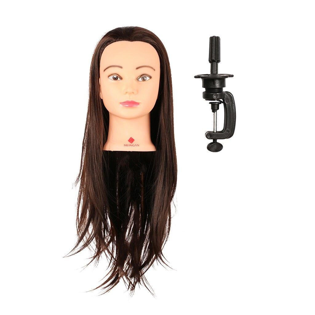 Maniquí de peluquería cuidado del cabello entrenamiento de práctica cabeza de maquillaje con pinza de pelo largo modelo de Maniquí de cabeza de entrenamiento