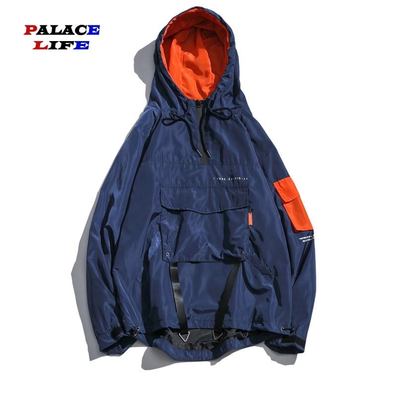 2019 Autumn New Hoodie Jackets Men Casual Mens Pocket design Streetwear Coat Hip Hop Windbreaker Jacket Coats Man