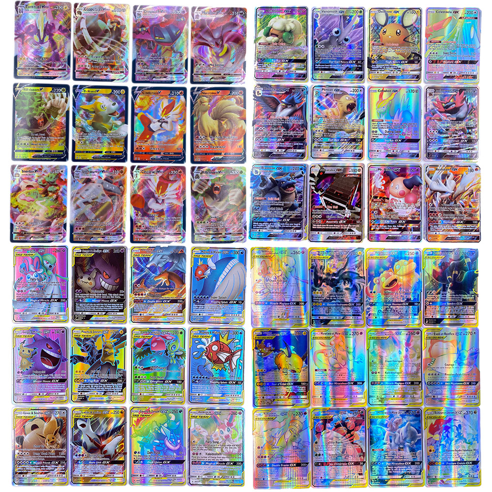 Lote de jogo de cartas pokemon com 200 v max 80 tag team 300 gx vmax