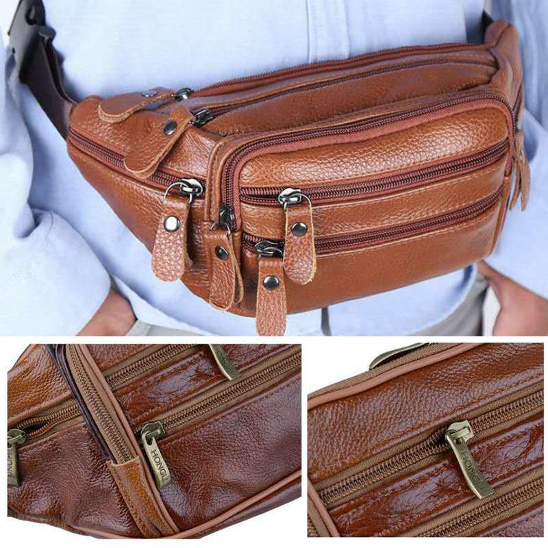 Portable Men's Vintage Leather Waist Bag Zip Pocket Genuine Leather Pack Casual Functional Money Phone Cigarette Belt Male Bag