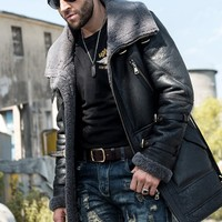 Italian Winter Mens Mid Long Sheep Real Fur Lining Military Jacket Belted Natural Shearling Overcoat Genuine Leather Biker Coats