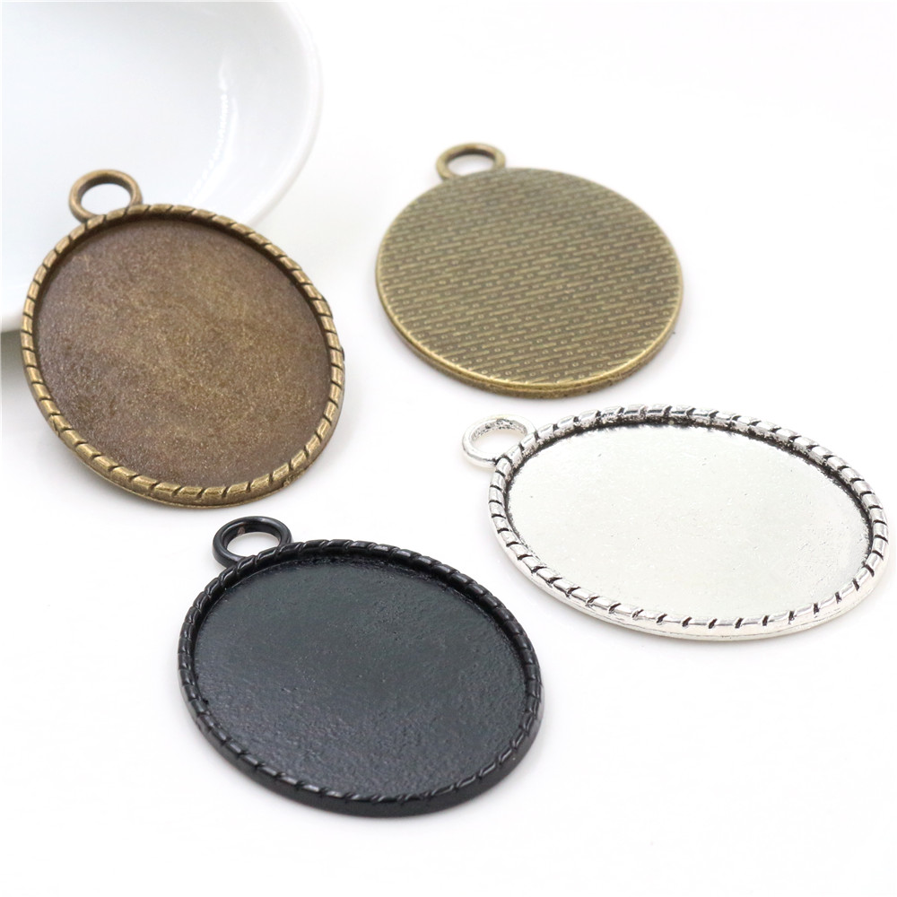 New Fashion 5pcs 30x40mm Inner Size Antique Silver Plated And Bronze Black Simple Lines Style Base Setting Pendant Tray