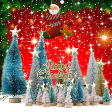 57 Pcs Mini  Multicolor Pine Trees Frosted Sisal with Wood Base Plastic Winter Snow Ornaments Tabletop Decoration