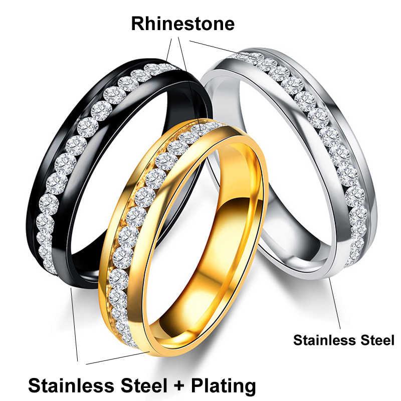 AIJUAN Rhinestone แหวนสแตนเลสโลหะแฟชั่นทองเงินสีดำแหวนผู้ชายผู้หญิงผู้หญิง Unisex ขายส่งเครื่องประดับ