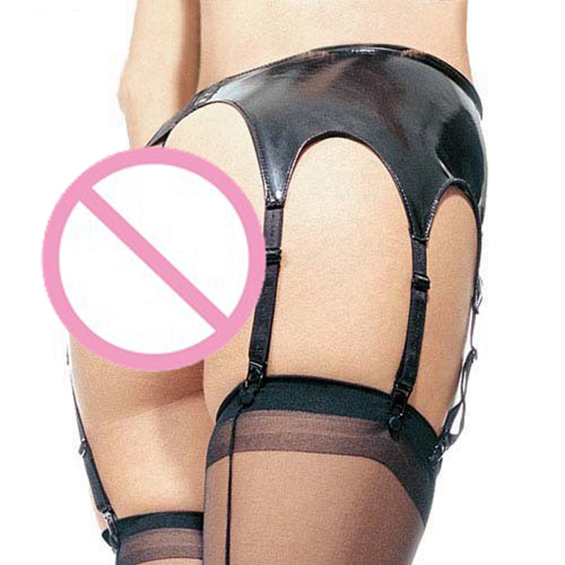 Women Sexy Wetlook Lingerie Latex Pants With 6 Garters Faux Leather Elastic Pvc Clubwear Ladies Mini Shorts Erotic Hot Underwear
