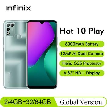 Global Version Infinix Hot 10 Play 6.82'' HD+ Display Smartphone 2/4GB 32/64GBHelio G25 13MP AI Dual Rear Camera Moblie Phone 1
