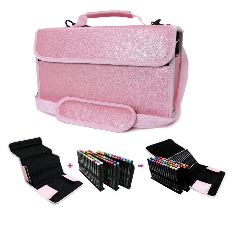 80 Holes School Pencil Case Professional Large Marker Pen Penal Pencilcase PU Leather Art Pen Box Multi Pencil Storage Bag Pouch