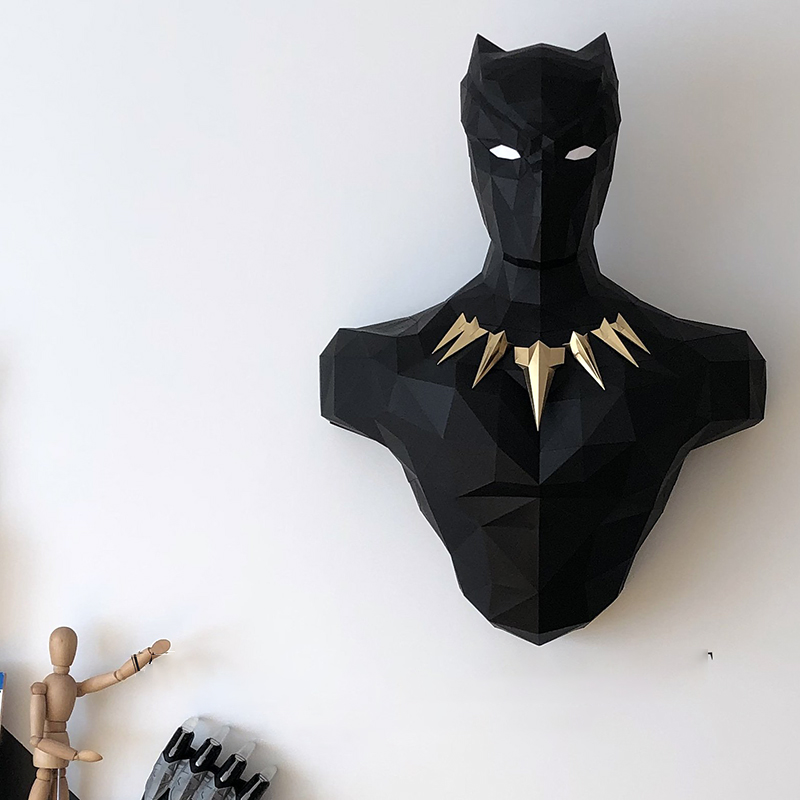 3D Paper Model Black Panther Papercraft Home Decor Wall Decoration Puzzles Educational DIY Kids Toys Birthday Gift 2087