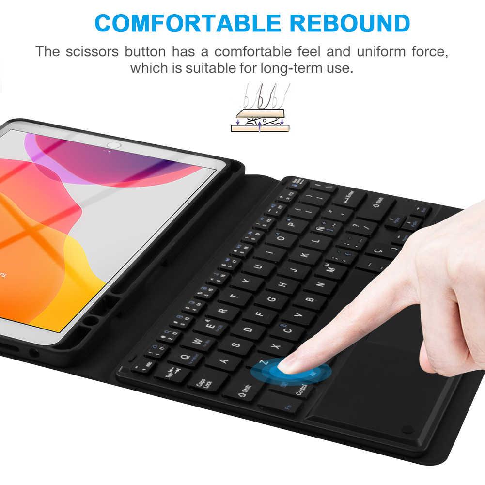 لباد 10.2 بوصة لوحة المفاتيح التي تعمل باللمس لوحة المفاتيح بلوتوث وحقيبة جلدية سوداء مجموعة اللوحي واقية الإسبانية الولايات المتحدة الفرنسية الروسية