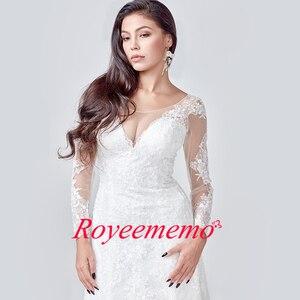 Image 4 - 2020 Elegant Lace Appliques long Sleeve Mermaid Wedding Dress Illusion Back Vintage Bridal Gown vestido de noiva Custom Made