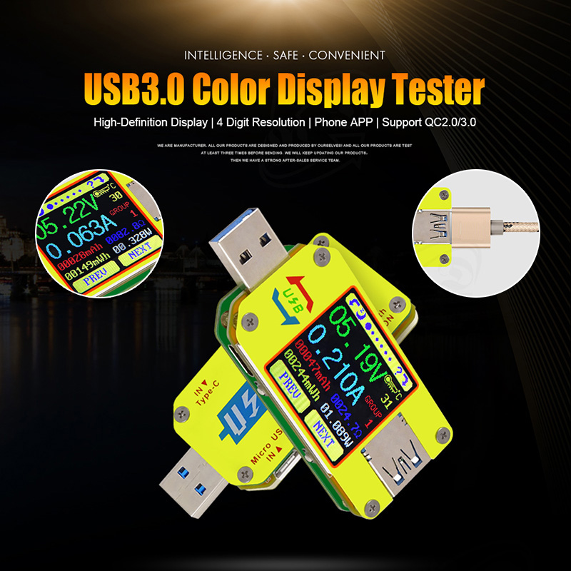 UM34 UM34C USB 3.0 Type-C Color LCD Tester Voltage  Capacity Energy Meter A2TF