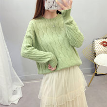 Fund Round Neck Thick Section Easy Pullover Coarse Wool Short Fund Hemp Flowers Knitting Unlined Upper Garment Sweater Woman(China)
