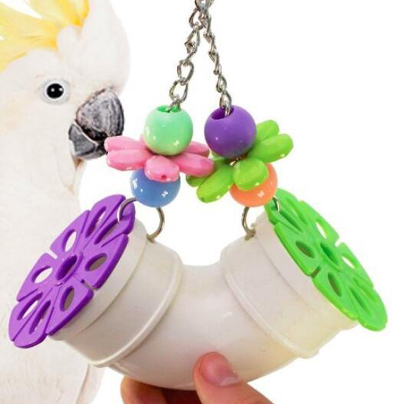 Parrot Toy Bite Toy Bird Toy Pipeline Toy Acrylic Bite String Parrot Toys Intelligence Paw Grinding Stand Toy