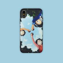 For iphone 8 case silicone cover Cartoon One Piece Luffy Sabo ace Phone Case for coque iPhone 7 Plus 6 X XR XS MAX