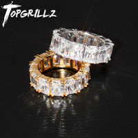 TOPGRILLZ 1 Reihe Solitaire Tennis Männer der Ring Kupfer Charme Gold Silber Baguette Cubic Zirkon Iced Ring Mode Hip Hop schmuck