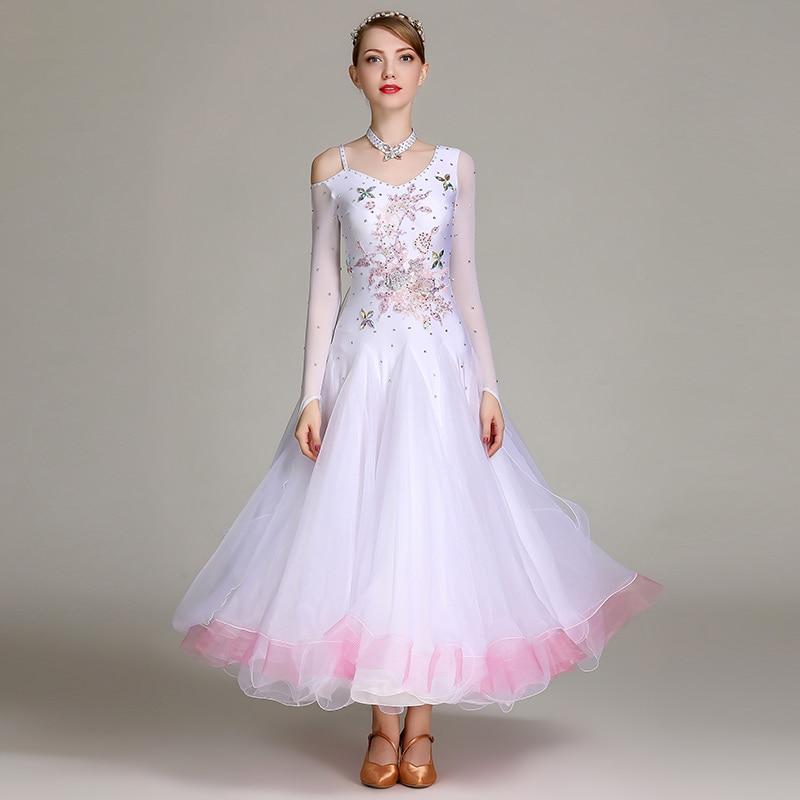 White Ballroom Dance Competition Dresses Women Embroidery Standard Dance Waltz Tango Foxtrot Rumba Performance Clothing DC3566