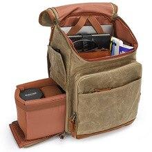 Yeni varış Batik tuval açık fotoğrafçılık kamera sırt çantası yastıklı yürüyüş çantası Nikon/Canon/Sony SLR kamera aksesuarları