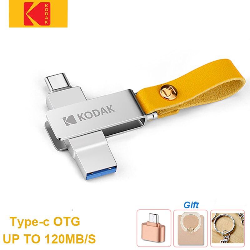 Kodak K243C металлический USB3.1 USB флеш-накопитель 32 ГБ флэш-накопитель 64 Гб 128 Тип c флеш-накопитель вытяжным шнуром для ключей cle usb для смартфонов