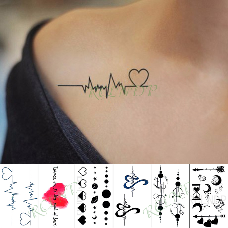 Waterproof Temporary Tattoo Sticker red Love Heart Heartbeat Fake Tatto Hand Arm Foot Flash Tatoo for Kid Girl Men Women