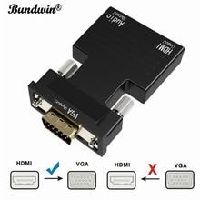 Bundwin Adaptador convertidor de Audio y vídeo para PC, portátil, TV, proyector, HDMI a VGA, hembra a macho, Digital a analógico