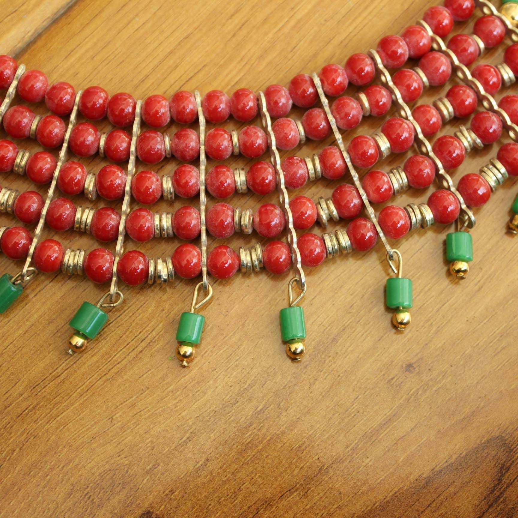 NK220 Tây Tạng Trang Sức 5 Lớp Nhiều Màu Sắc Lampwork Đính Hạt Phong Cách Bohemia Nữ Vòng Cổ Từ Nepal