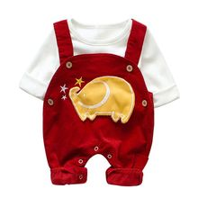 Fashion Cartoon Elephant Print Baby Boy Sets White Top Red Romper Two-piece Girl Set 0-12M Newborn Clothes #p