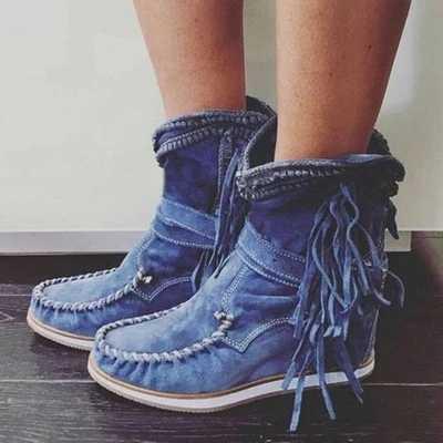 คลาสสิกพู่ Western คาวบอยรองเท้าหนังผู้หญิงรองเท้า Cowgirl รองเท้าส้นสูงรองเท้าเข่าสูงผู้หญิง Winter BOOTS