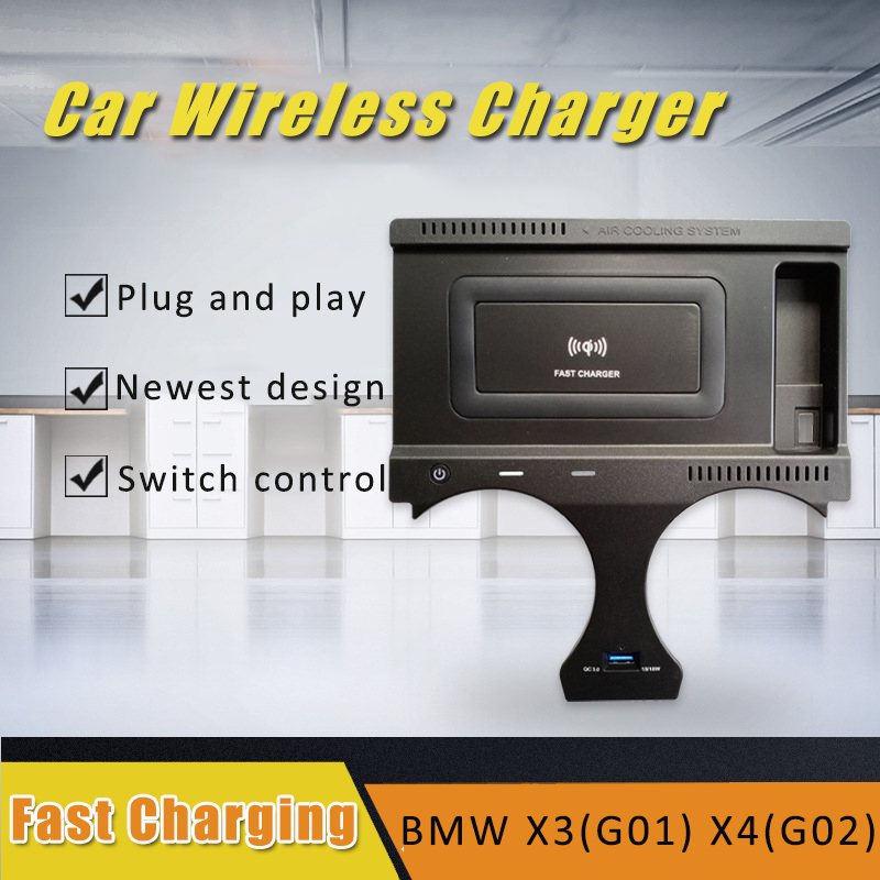 For BMW X3 X4 G01 G02 2018 2019 2020 10W QI wireless charger fast charging plate wireless mobile charger accessories for iPhone