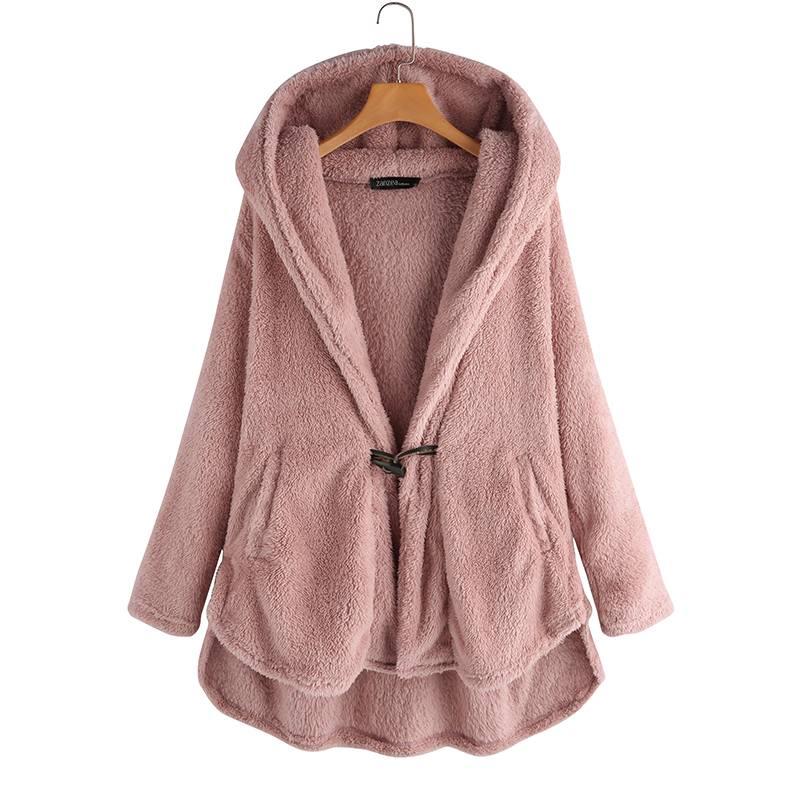 Plus Size Winter Womens Zip Up Open Hooded Hoodies Long Sleeve Coat Tops Jacket