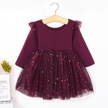 Kids Autumn Winter Dresses for Girls Star Sequins Princess Dress Girl Long Sleeve Party Vestidos Baby Girl Children Clothing D20 цена