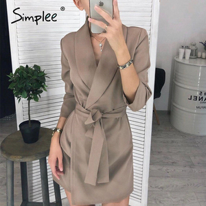 Image 2 - Simplee Elegant v neck office dress Plus size solid sash high waist long sleeve blazer dress Casual spring chic bodycon dress