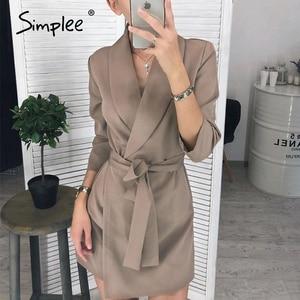 Image 2 - Simplee vestido elegante de oficina, con escote en V de talla grande, faja sólida, tiro alto, manga larga, blazer, vestido informal elegante para primavera