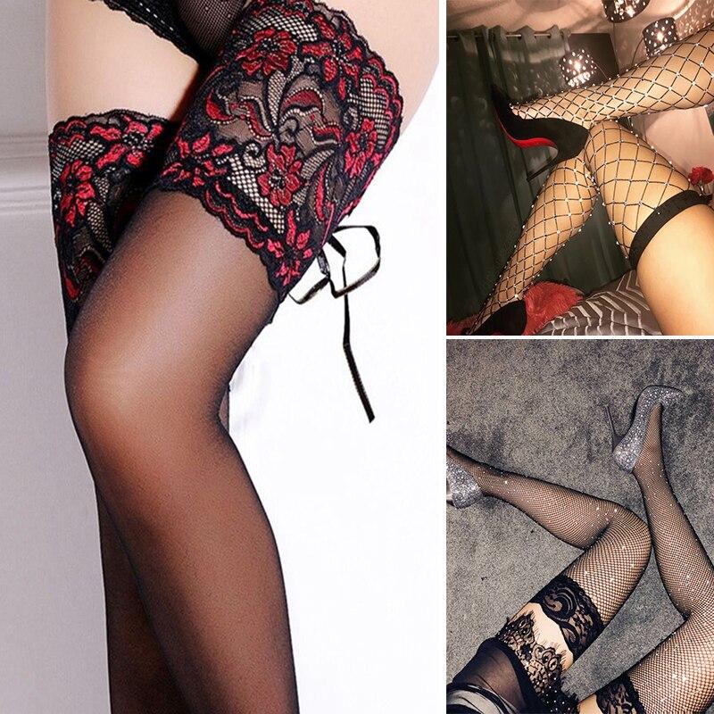 Women Nylon Stocking Female Sexy Lingerie Mesh Fishnet Stockings Bling Shiny Transparent Thigh High Over Knee Stockings Ladies